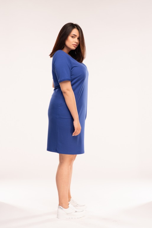 sportswear short sleeve dress with pockets in blue