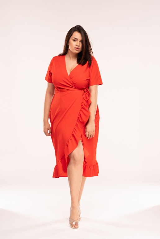 JERSEY WRAP DRESS WITH FRILL