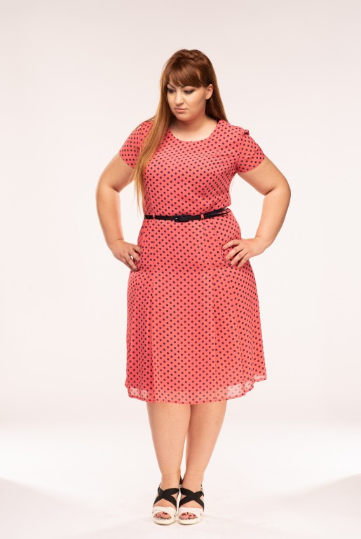 Polka Dot Midi Dress in coral