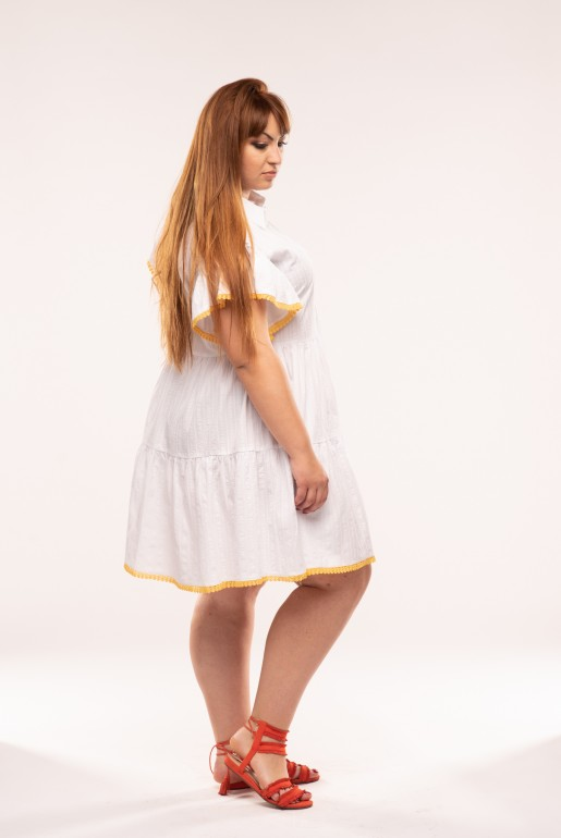 SMOCK SHIRT DRESS WITH TRIM - Image 3