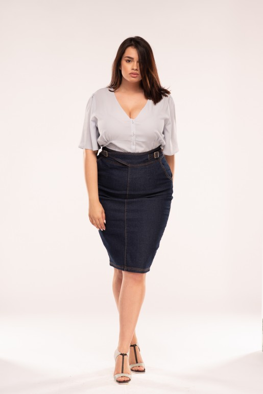 DENIM SKIRT WITH BUCKLES