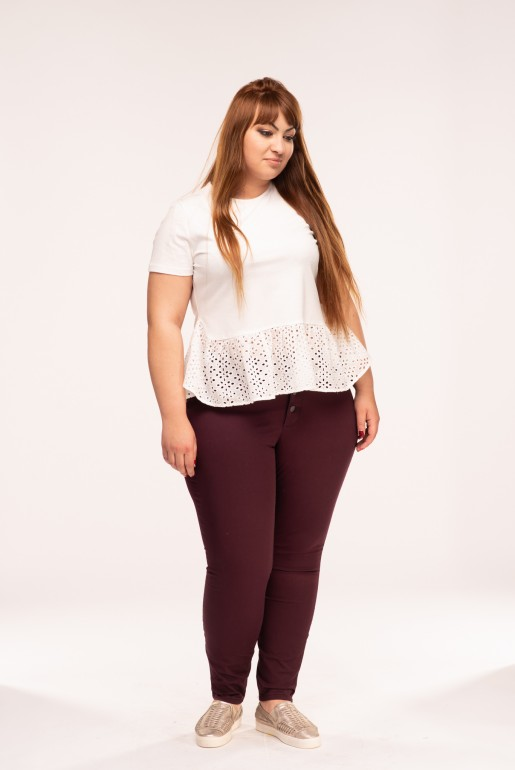 BUTTON FRONT JEGGING IN WINE