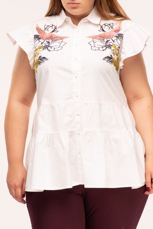 BLOUSE WITH BIRD EMBROIDERY