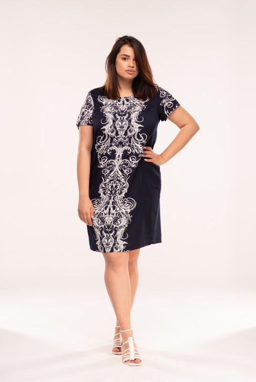Straight dress with short sleeves in dark blue with white ornaments