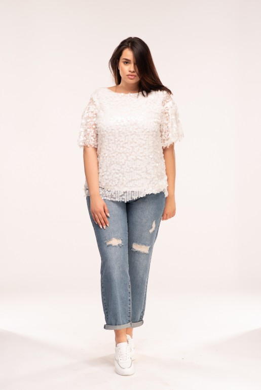 TEE WITH WHITE SEQUINS