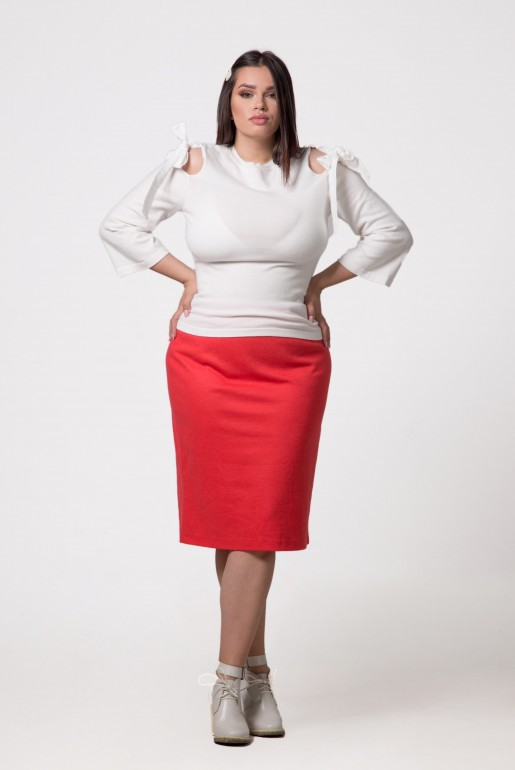 STRAIGHT SKIRT IN CORAL