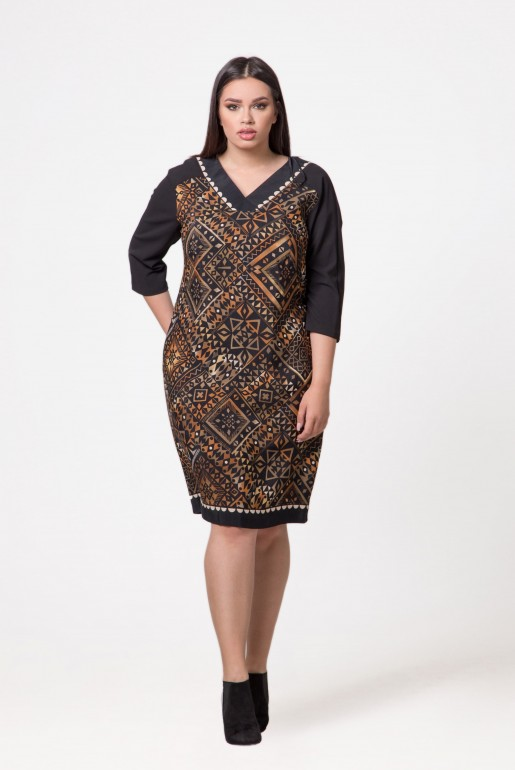 Dress Devon in brown with geometric print