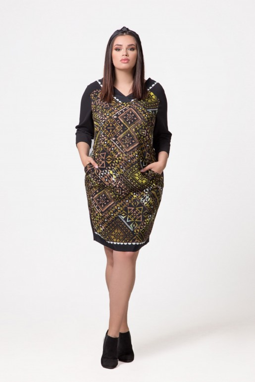 Dress Devon in green with geometric print