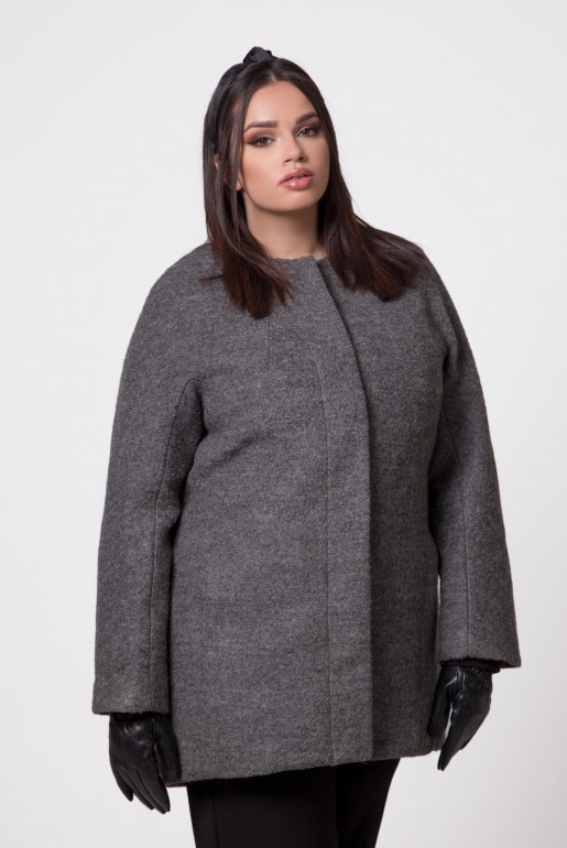 WOOL COAT JACKIE KENNEDY IN GREY - Image 5