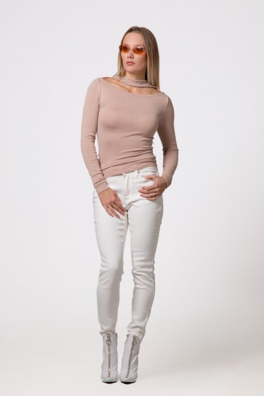 SPLIT FRONT NECK JUMPER