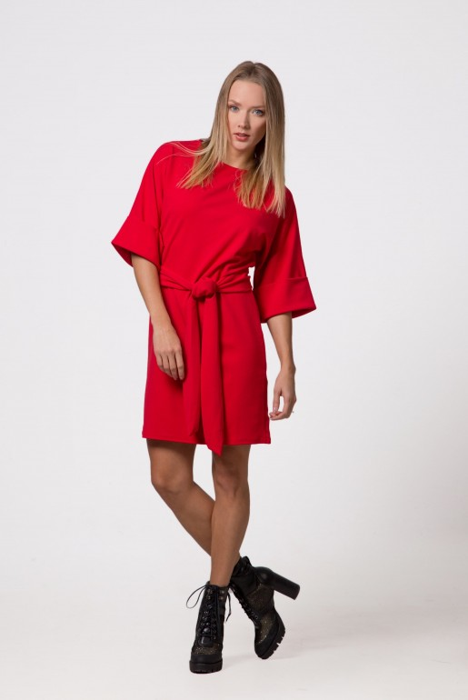 Turn Up Sleeve Tie Waist Dress