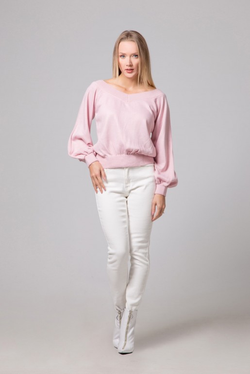 ROUCHED BARDOT BALLOON SLEEVE JUMPER