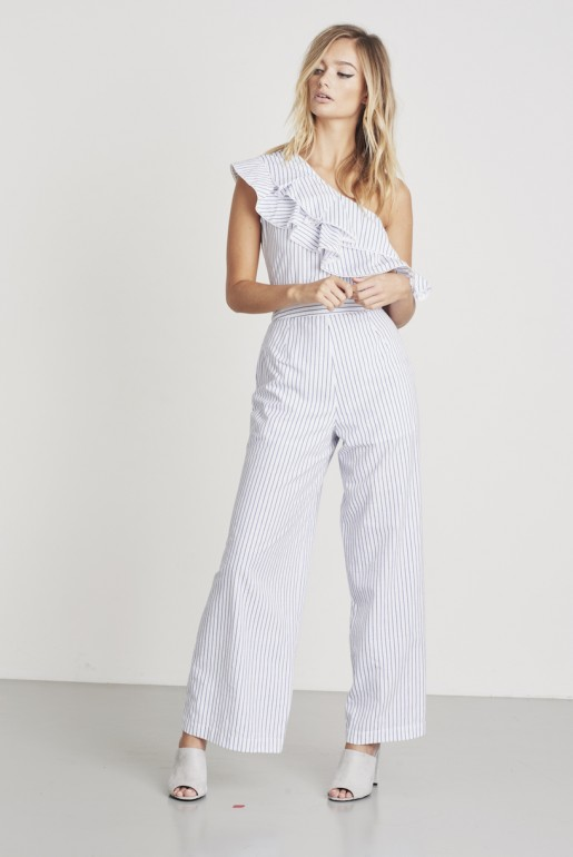 STRIPE FRILL SHOULDER JUMPSUIT