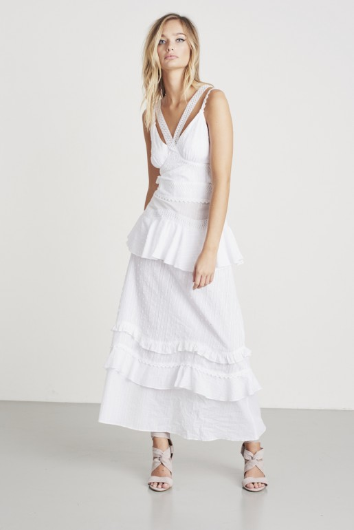 COTTON & CROCHET MIX RUFFLE MAXI DRESS