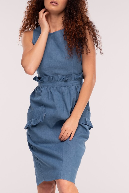 HIGH NECK DENIM PAPERBAG BODYCON DRESS