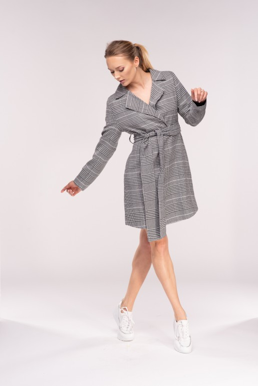BELTED BLAZER DRESS IN CHECK