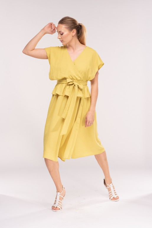 PLACKET SIDE MIDI DRESS WITH PEPLUM