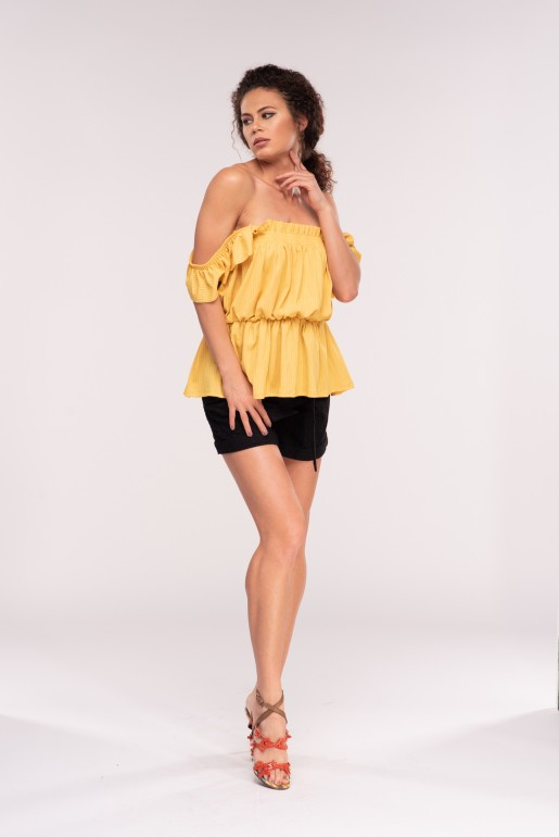 SMOCK TOP WITH RUFFLE STRAPS
