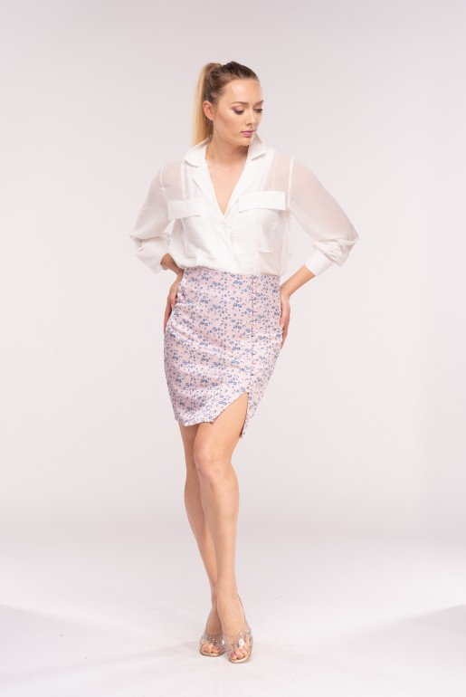 JACQUARD BUTTON MINI SKIRT