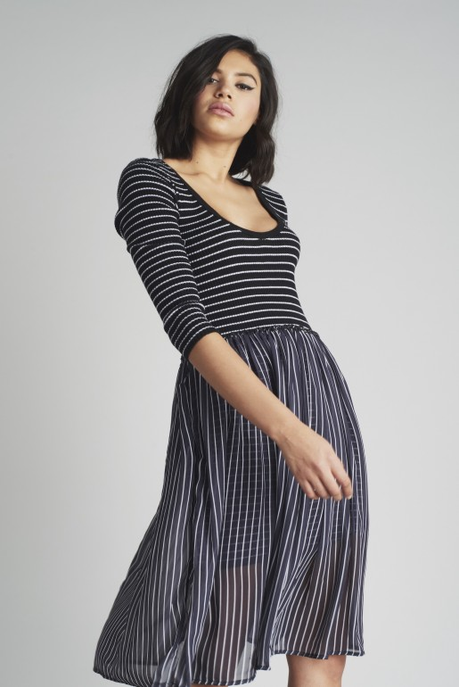 STRIPE CHIFFON SKIRT DRESS